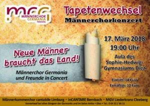 """Plakat Männerchorkonzert """"Tapetenwechsel"""" Männerchor """"Germania"""" Freiendiez"""